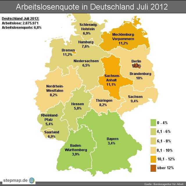 Arbeitslosenquote in Deutschland Juli 2012