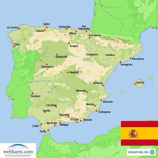 spanien weltkarte Landkarte Spanien (Übersichtskarte) : Weltkarte.  Karten und  spanien weltkarte