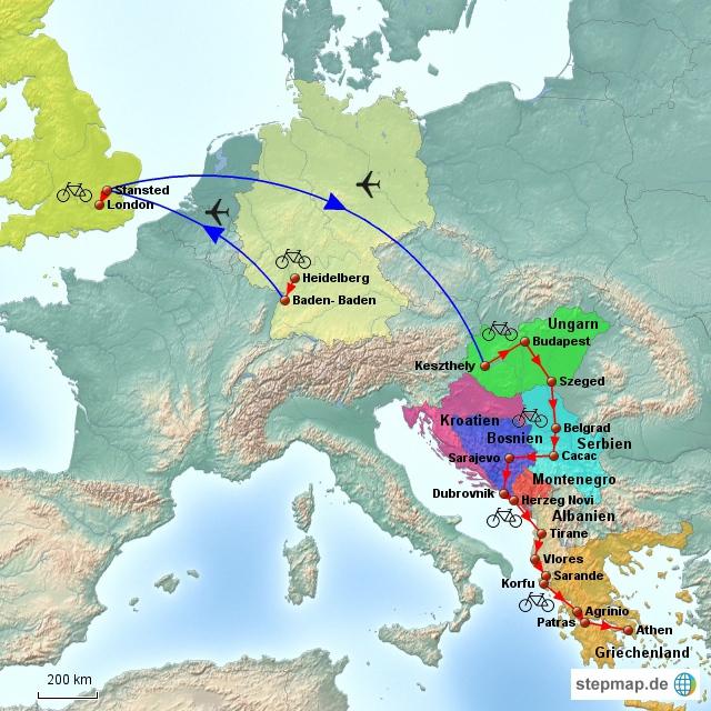 Der erste Reiseabschnitt befindet sich in Europa. Ein erstes Einradeln führte von Heidelberg nach Baden- Baden. Von dort brachte mich Ryanair nach London und dann nach Ungarn westlich des Balaton. Eine einmonatige Radreise verlief dann bis Griechenland durch Serbien, Bosnien, Kroatien, Monenegro und Albanien.