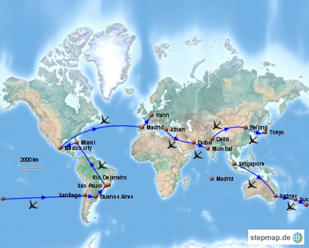 Die grundsätzliche Gestaltung der Radweltreise hatte ich über das Oneworld- Vielflieger- Weltumrundungsprogramm (round the world)vorgenommmen. Das Ziel hierbei das Einhalten der 16 Teilabschnitte, hierbei zählten auch Landrouten als Teilabschnitte, was die Streckengestaltung nicht vereinfachte. Die freien Abschnitte zwischen zwei Oneworl- Flugrouten hatte ich entsprechen mit Radfahrabschnitten, Billigfliegern, Bahn-, Bus-, Schiffahrten ausgefüllt. Es sei angemerkt, in dieser Übersicht sind keine anderen Reiseabschnitte und zusätzlichen Flüge aufgeführt. Diese sind detailliert den einzelnen Kapiteln zu entnehmen.  Die Zeitplanung der ersteren Flüge errechnete ich anhand der Reiseroute, die hinteren Flüge wurden zunächst frei gewählt. Über ein internationales Reisebüro, bei dem ich gebucht hatte, konnte ich die Flugabschnitte ternminlich während der Reise gegen eine geringe Gebühr nachträglich umgestalten. Hiermit war ich recht frei in der Planung und hatte jede Menge Handlungsfreiheit. Die Kosten des Flugprogrammes betrugen ca. 2800€, hinzu kamen natürlich noch die zusätzlichen Billigflüge und die Land- und Wassertransporte, doch diese blieben finanziell recht überschaubar.