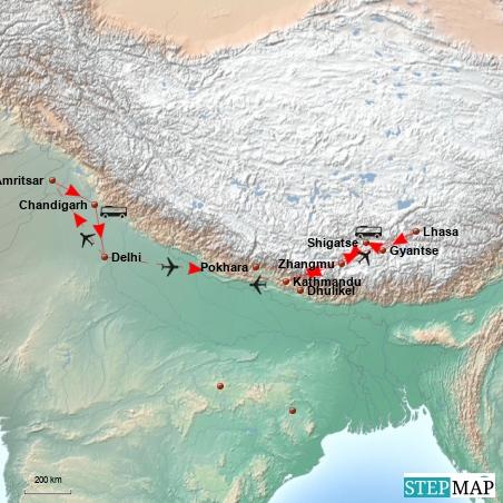 Delhi --> Kathmandu --> Lhasa --> Kathmandu --> Delhi --> Amritsar