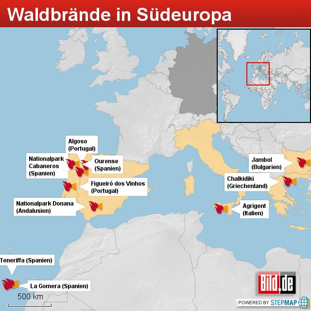 waldbrand portugal karte Waldbrand: Sind in Südeuropa Touristen gefährdet   News Ausland