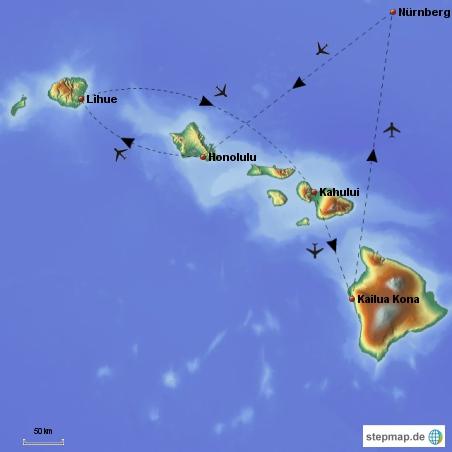 Flugroute des Inselhoppings (entspricht auch dem Aufbau meines Hawaii-Reiseberichts).
