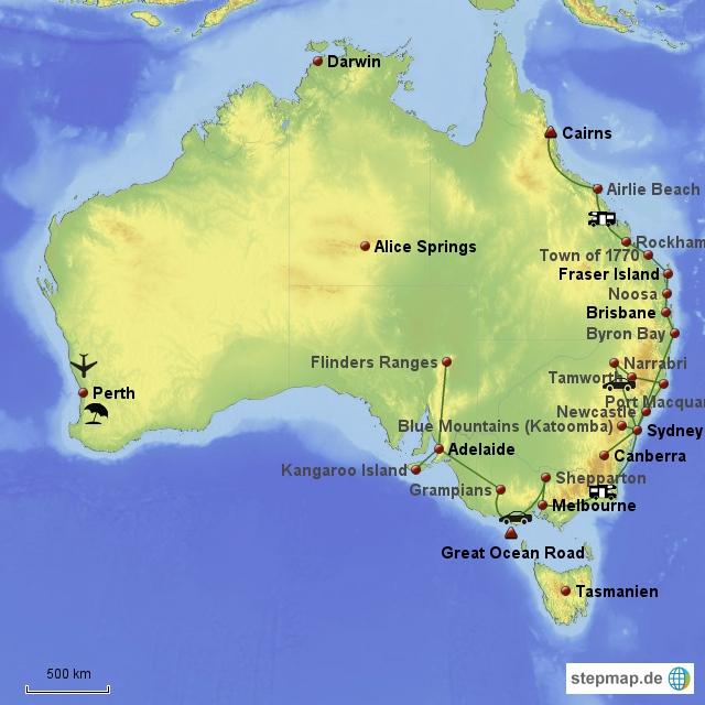 Reiseroute Australien