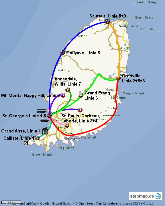 Streckenkarte der Minibusse in Grenada