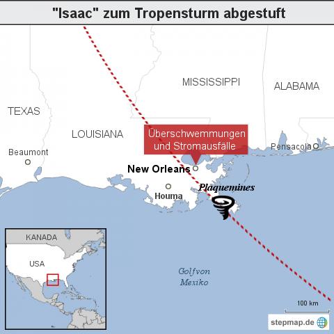 """""""Isaac"""" Zum Tropensturm abgestuft"""