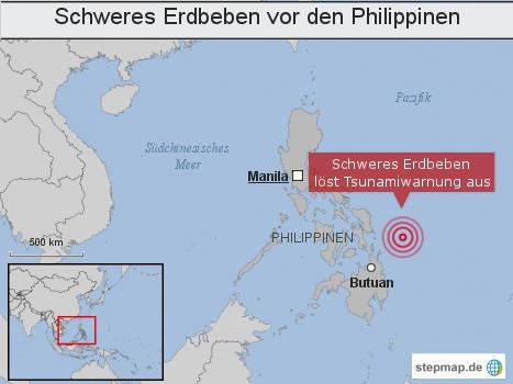 Schweres Erdbeben vor den Philppinen