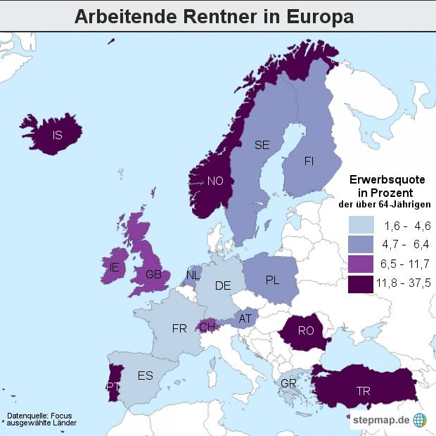 Arbeitende Rentner in Europa