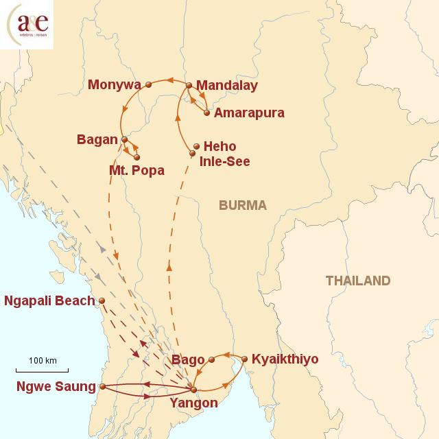 Routenkarte zur Reise Begegnungen in Buddhas Lieblingsland