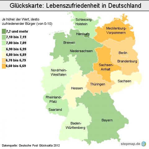 Glückskarte: Lebenszufriedenheit in Deutschland