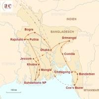 Routenkarte zur Reise Juwel am Delta des Ganges & Brahmaputra