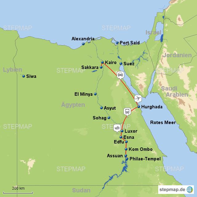 Reisebericht Unserer Nilkreuzfahrt Karte Und Reiseverlauf