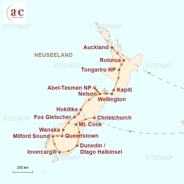 Routenkarte zur Reise Zu Gast bei den Kiwis (bis April 2017)