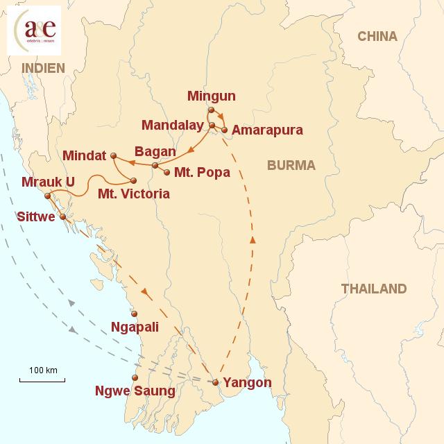 Routenkarte zur Reise Expedition ins geheimnisvolle Arakan