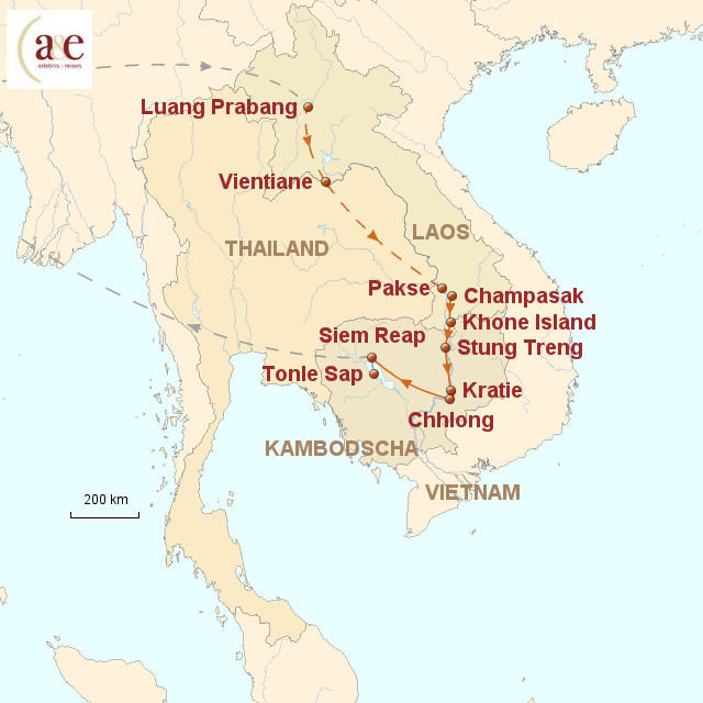 Routenkarte zur Reise Delfine in Sicht im Artenparadies Mekong 2014
