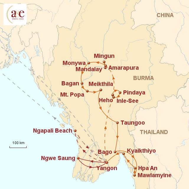 Routenkarte zur Reise Abenteuer im Goldenen Land 2017