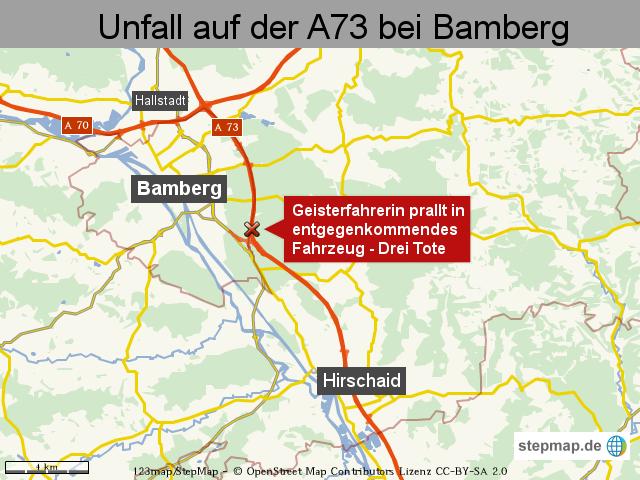 Unfall auf der A73 bei Bamberg