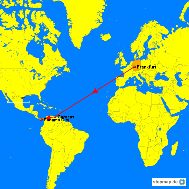 Von Frankfurt aus geht es mit Lufthansa über Caracas nach Panama City.