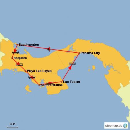 Unsere geplante Route ... ob es so kommt??? Keine Ahnung, fest steht bisher nur der Flug nach Bastimentos ....