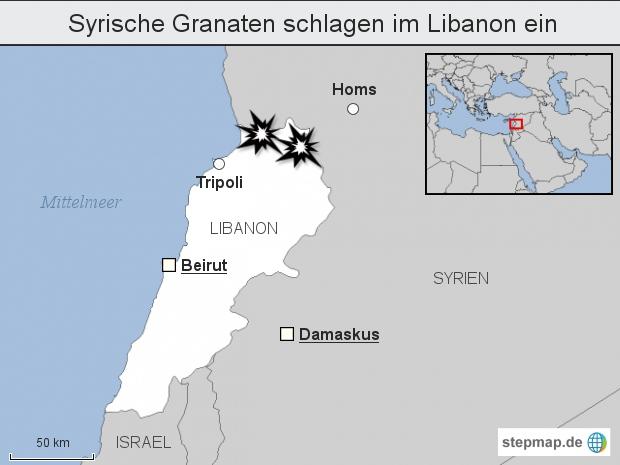 Syrische Granaten schlagen im Libanon ein