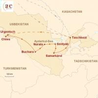 Routenkarte zur Reise Aktiv zu Land & Leuten