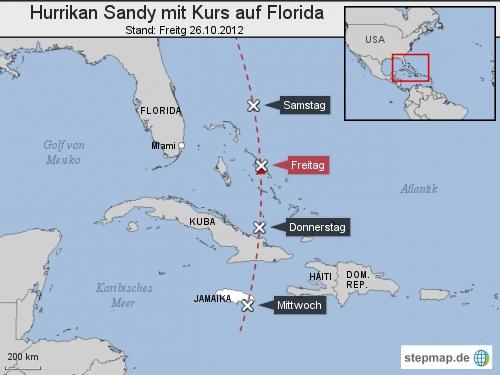 Hurrikan Sandy mit Kurs auf Florida