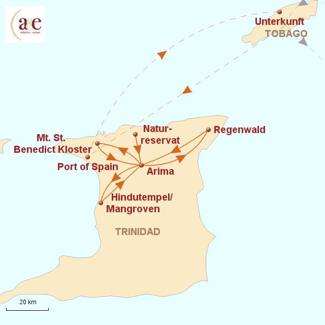 Routenkarte zur Reise Inselparadies Trinidad & Tobago