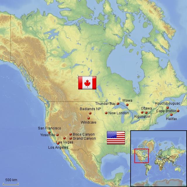 Reiseroute Kanada und USA