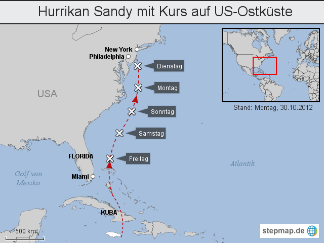 Hurrikan Sandy mit Kurs auf US-Ostküste