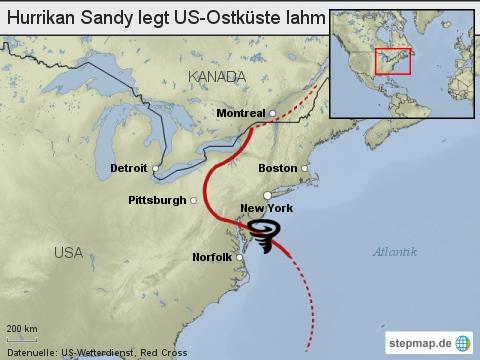Hurrikan Sandy legt US-Ostküste lahm