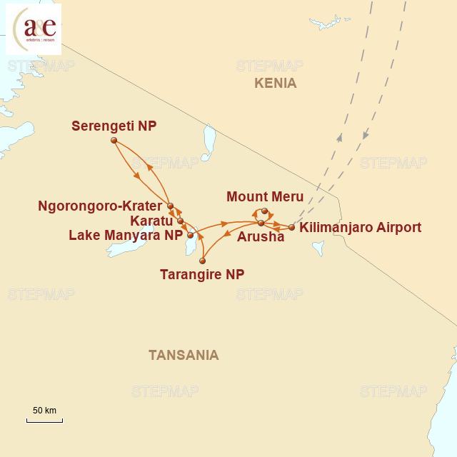 Routenkarte zur Reise Safari-Erlebnis im Norden