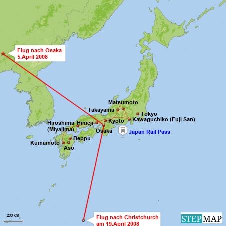 Meine Reiseroute in Japan.