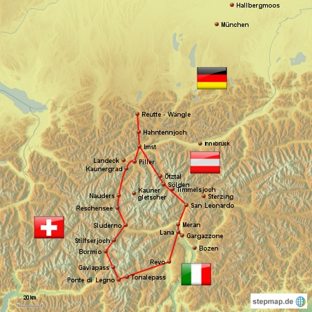Tourkarte Alpentour 2011 Flugroute der Tour Hessenbembels das Video Bilder zur Alpentour der Hessenbembels 2011