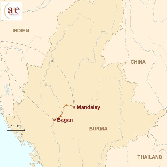 Routenkarte zur Reise Irrawaddy-Flussfahrt auf der RV Paukan