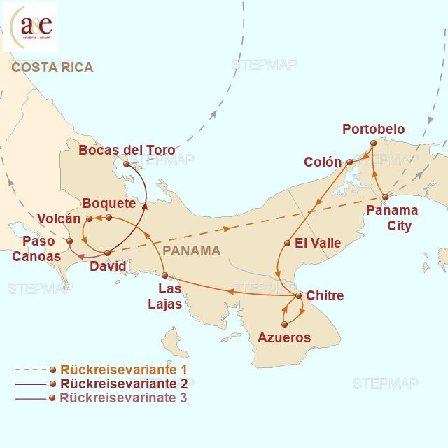 Routenkarte zur Reise Viva Panamá