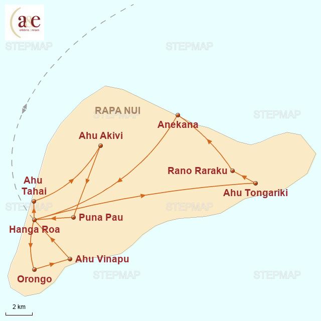 Routenkarte zur Reise Mythos Rapa Nui