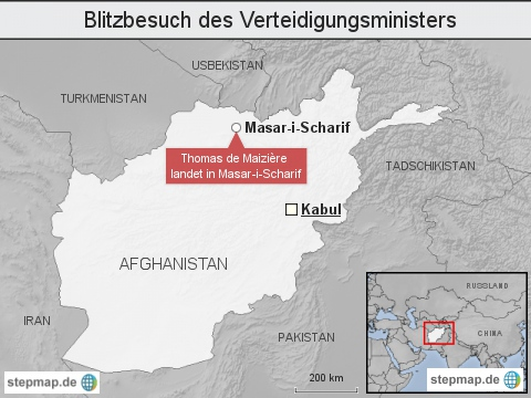 Blitzbesuch des Verteidigungsministers de Maiziere in Afghanistan