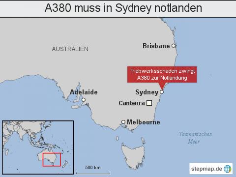 "A380 muss in <span class=""rtr-schema-org"" itemscope="""" itemtype=""http://schema.org/Place""><meta itemprop=""name"" content=""Sydney"">Sydney</span> notlanden"