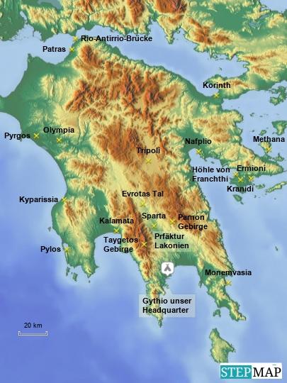 Reiseziele im Peloponnes