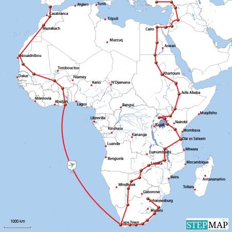 11/10 - 01/11 marokko bis ghana 01/11 - 04/11 südafrika (evtl. lesotho und swaziland) 04/11 - 09/11 südafrika bis türkei