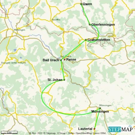 Erster Anstieg vor Grabenstetten Panne in Bad Urach.