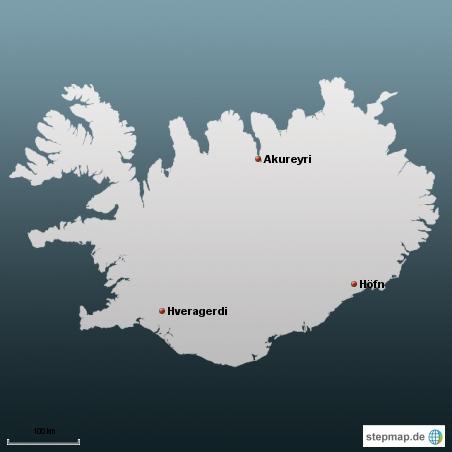 Nur zur Info. Die Kartensoftware hat nur wenige Orte in Island gefunden und ich bin mit der Koordinateneingabe net zurechtgekommen. Somit nur mal 3 Orte um etwas den Ueberblick zu haben wo ich gerade von erzaehle
