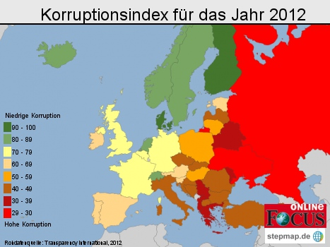 Europa: Korruptionsindex für das Jahr 2012