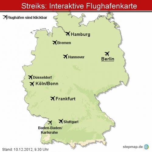 Streik: Interaktive Flughafenkarte