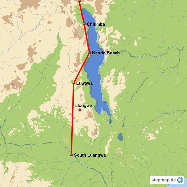 Am Malawisee in Richtung Süden