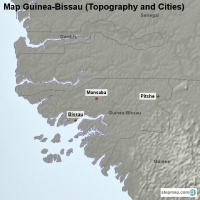 Map Guinea-Bissau (Topography and Cities)