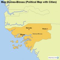 Map Guinea-Bissau (Political Map with Cities)