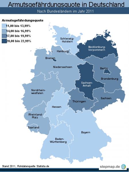 Armutsgefährdungsquote in Deutschland