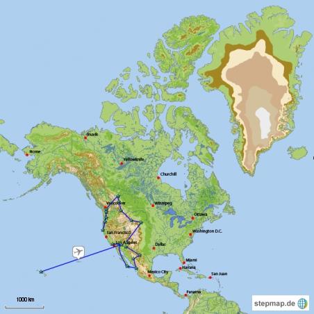 Auf dieser Karte seht Ihr einen Reise - Überblick