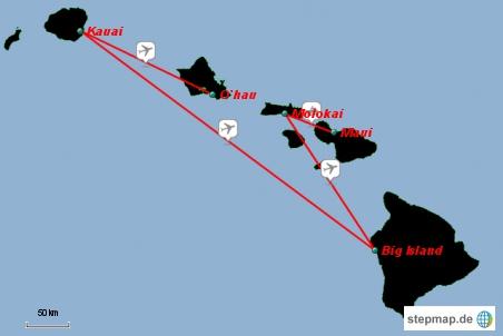Und das war unsere Route durch Hawaii